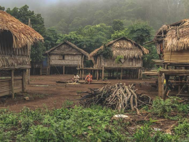 An impoverished Laos village