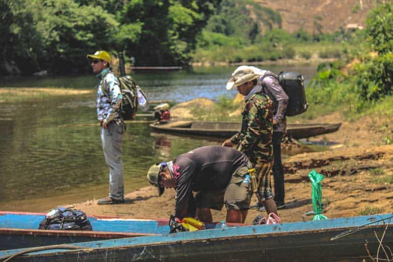 Fly fishing in remote region of Laos